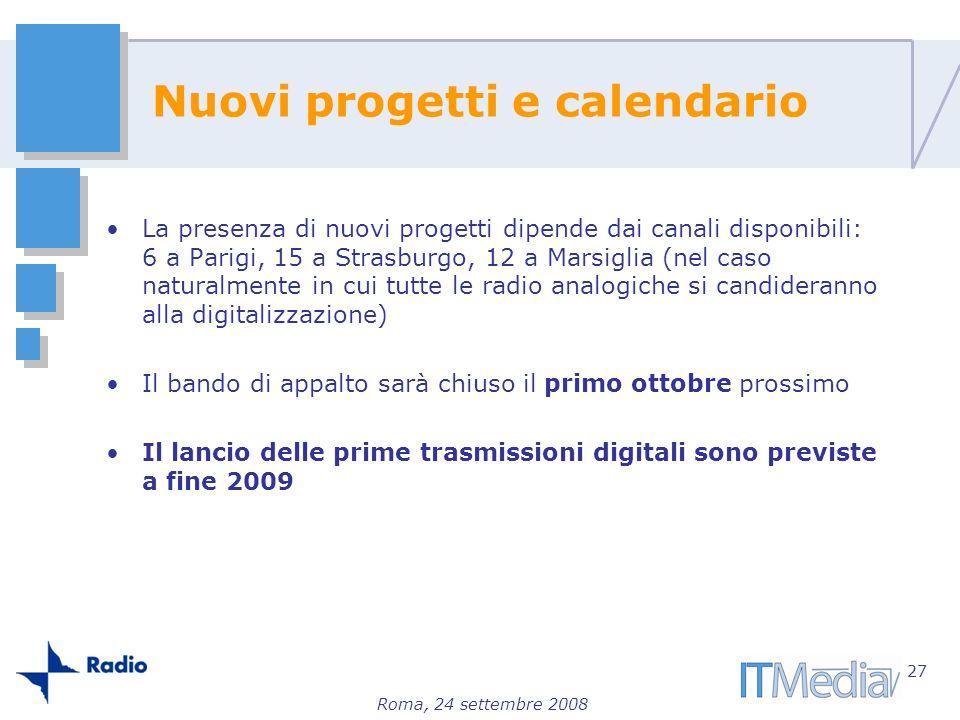 Roma, 24 settembre 2008 Nuovi progetti e calendario La presenza di nuovi progetti dipende dai canali disponibili: 6 a Parigi, 15 a Strasburgo, 12 a Ma