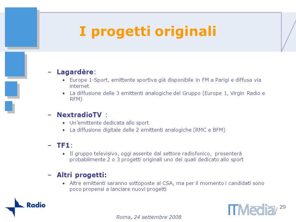 Roma, 24 settembre 2008 I progetti originali –Lagardère: Europe 1-Sport, emittente sportiva già disponibile in FM a Parigi e diffusa via internet La d