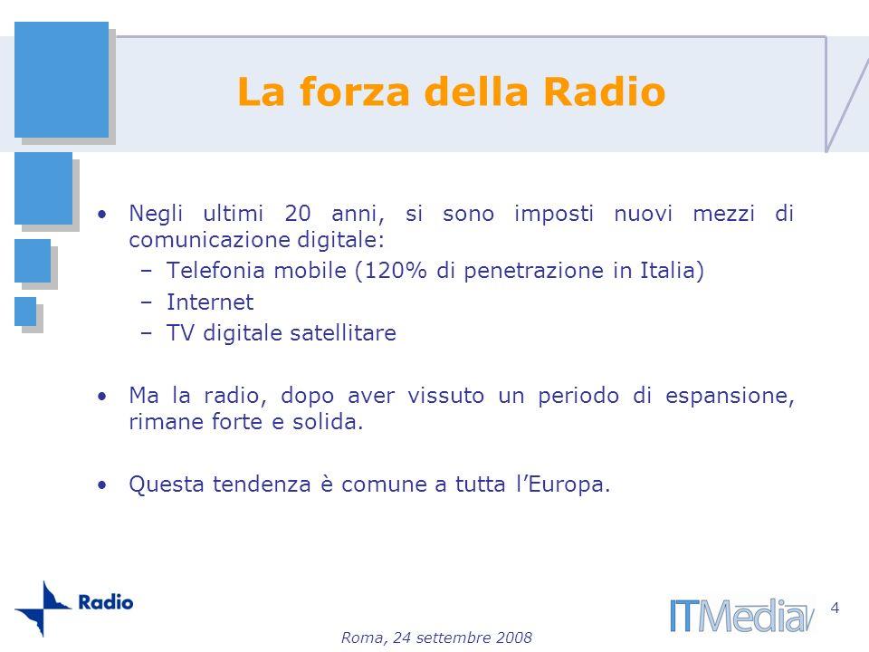Roma, 24 settembre 2008 La forza della Radio Negli ultimi 20 anni, si sono imposti nuovi mezzi di comunicazione digitale: –Telefonia mobile (120% di p