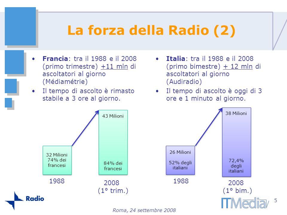 Roma, 24 settembre 2008 La forza della Radio (2) Francia: tra il 1988 e il 2008 (primo trimestre) +11 mln di ascoltatori al giorno (Médiamétrie) Il te