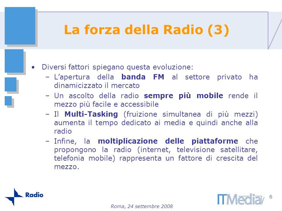 Roma, 24 settembre 2008 La forza della Radio (3) Diversi fattori spiegano questa evoluzione: –Lapertura della banda FM al settore privato ha dinamiciz