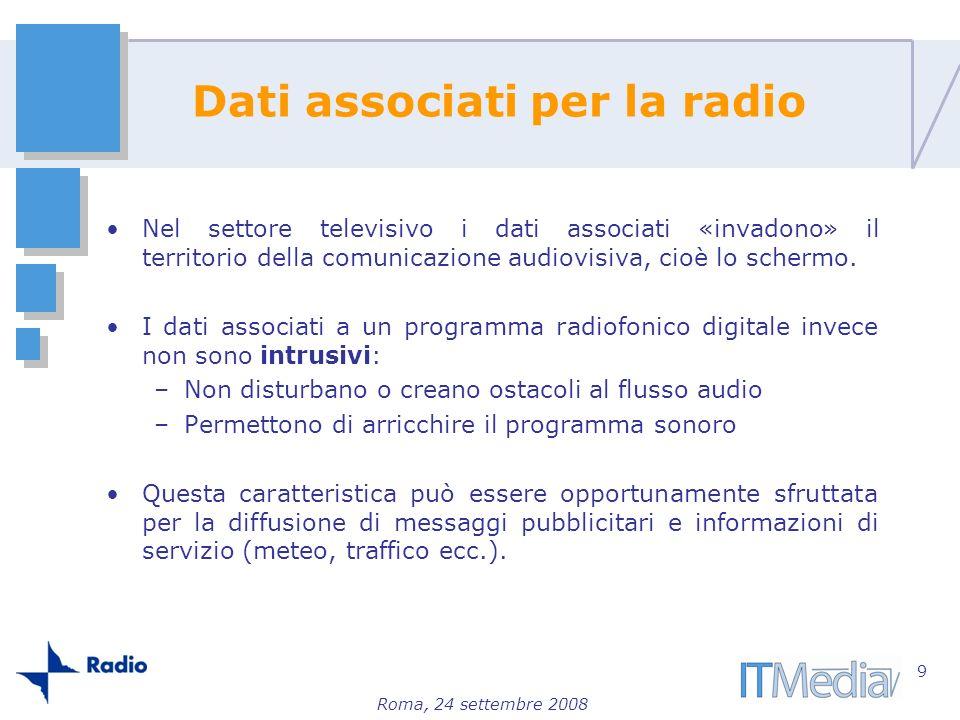 Roma, 24 settembre 2008 Dati associati per la radio Nel settore televisivo i dati associati «invadono» il territorio della comunicazione audiovisiva,