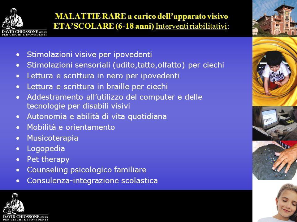 MALATTIE RARE a carico dellapparato visivo ETASCOLARE (6-18 anni) Interventi riabilitativi: Stimolazioni visive per ipovedenti Stimolazioni sensoriali