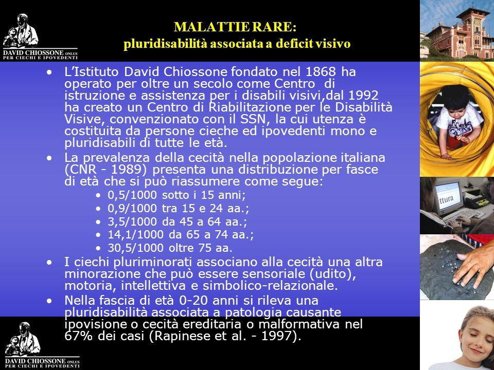 MALATTIE RARE: pluridisabilità associata a deficit visivo LIstituto David Chiossone fondato nel 1868 ha operato per oltre un secolo come Centro di ist