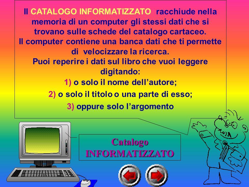Il CATALOGO INFORMATIZZATO racchiude nella memoria di un computer gli stessi dati che si trovano sulle schede del catalogo cartaceo.