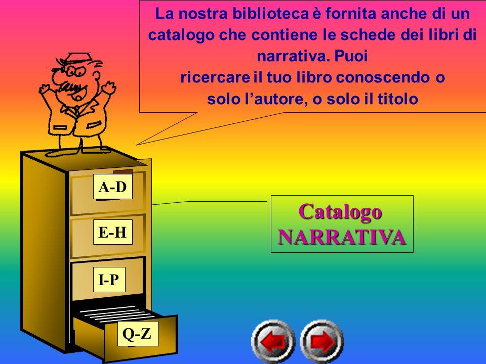 Catalogo NARRATIVA La nostra biblioteca è fornita anche di un catalogo che contiene le schede dei libri di narrativa.