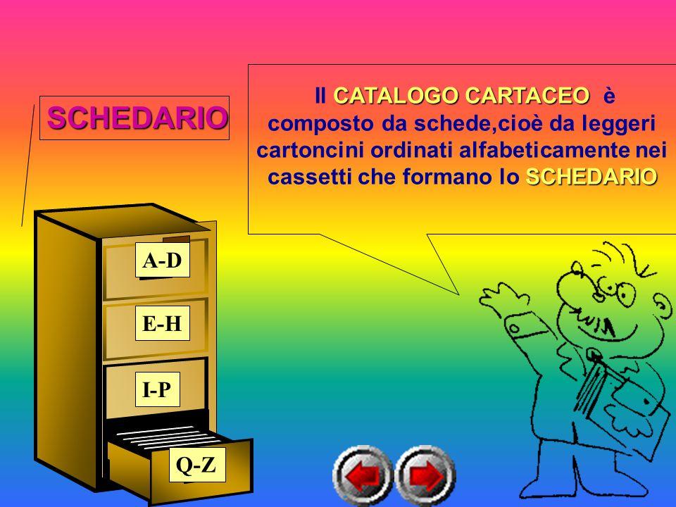 Il CATALOGO CARTACEO CARTACEO è composto da schede,cioè da leggeri cartoncini ordinati alfabeticamente nei cassetti che formano lo SCHEDARIO A-D E-H I-P Q-Z SCHEDARIO