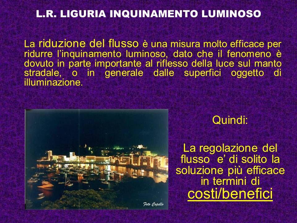 L.R. LIGURIA INQUINAMENTO LUMINOSO La riduzione del flusso è una misura molto efficace per ridurre linquinamento luminoso, dato che il fenomeno è dovu