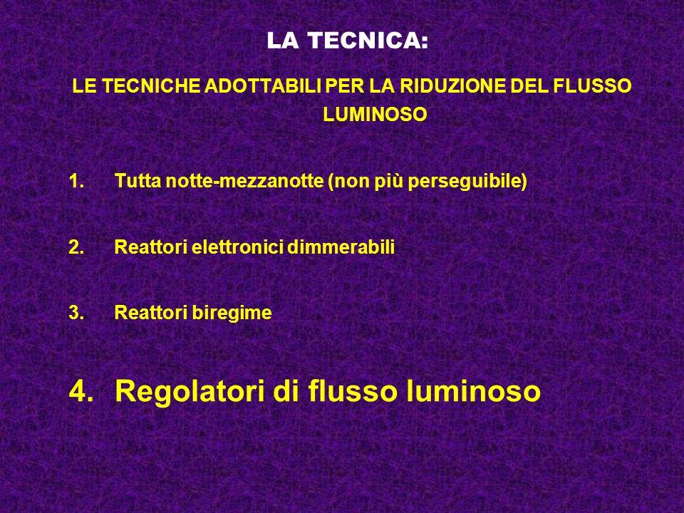 LA TECNICA: LE TECNICHE ADOTTABILI PER LA RIDUZIONE DEL FLUSSO LUMINOSO 1.Tutta notte-mezzanotte (non più perseguibile) 2.Reattori elettronici dimmera
