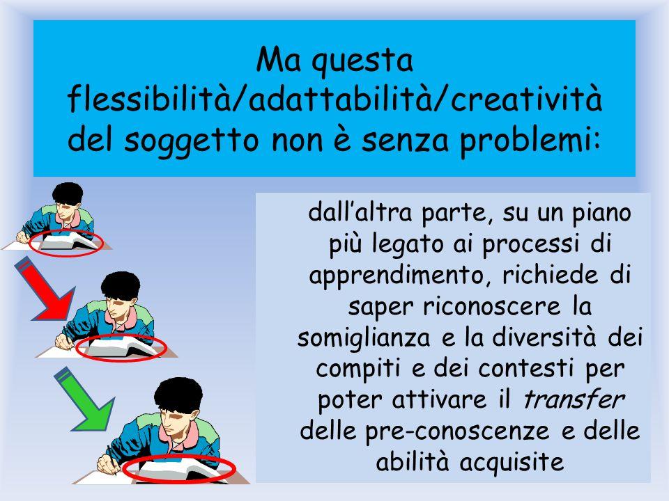 Ma questa flessibilità/adattabilità/creatività del soggetto non è senza problemi: dallaltra parte, su un piano più legato ai processi di apprendimento