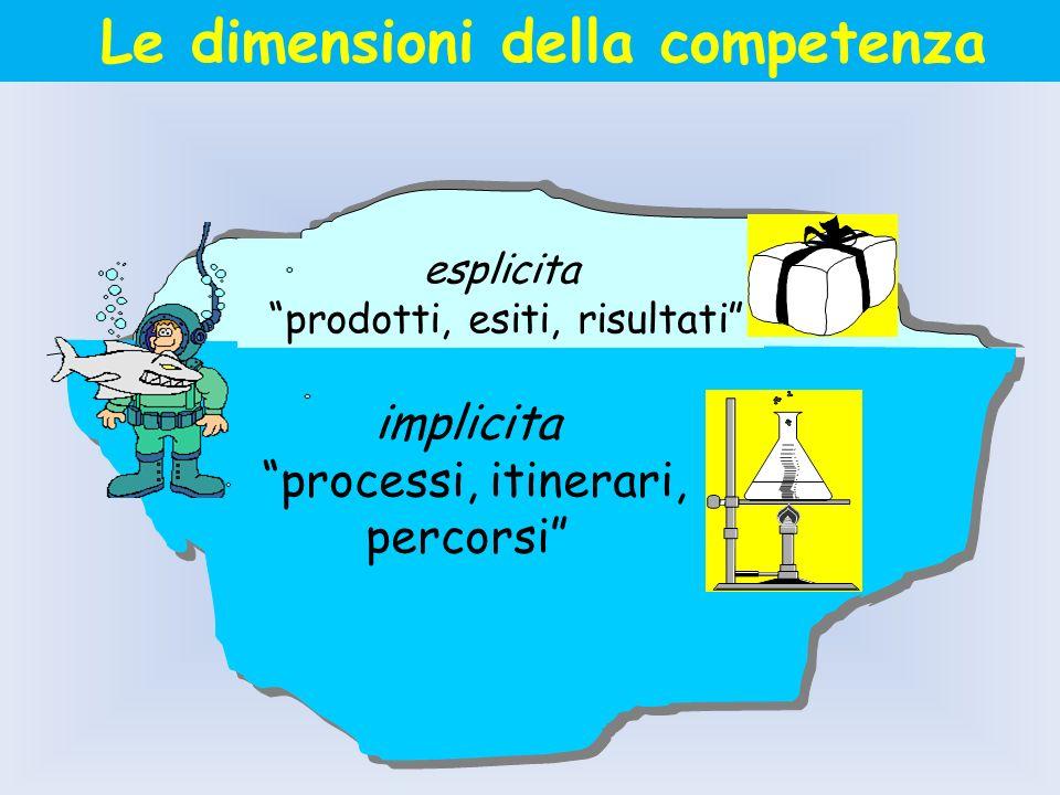 esplicita prodotti, esiti, risultati implicita processi, itinerari, percorsi Le dimensioni della competenza