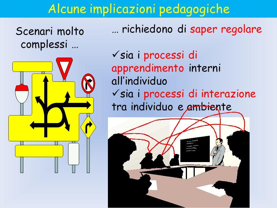 Scenari molto complessi … … richiedono di saper regolare sia i processi di apprendimento interni allindividuo sia i processi di interazione tra indivi