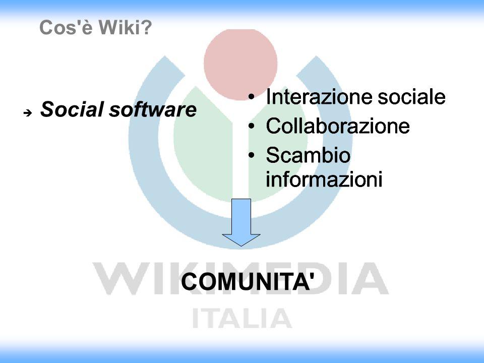 Cos'è Wiki? Interazione sociale Collaborazione Scambio informazioni Interazione sociale Collaborazione Scambio informazioni Interazione sociale Collab