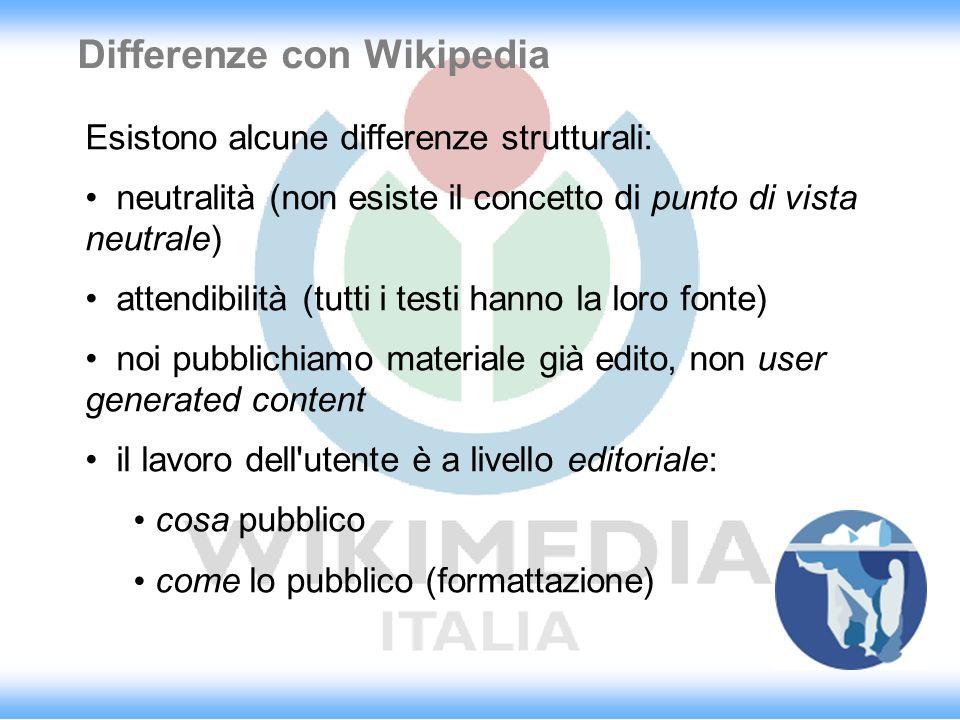 Differenze con Wikipedia Esistono alcune differenze strutturali: neutralità (non esiste il concetto di punto di vista neutrale) attendibilità (tutti i