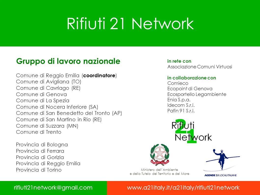 Rifiuti 21 Network rifiuti21network@gmail.comwww.a21italy.it/a21italy/rifiuti21network Gruppo di lavoro nazionale Comune di Reggio Emilia ( coordinato