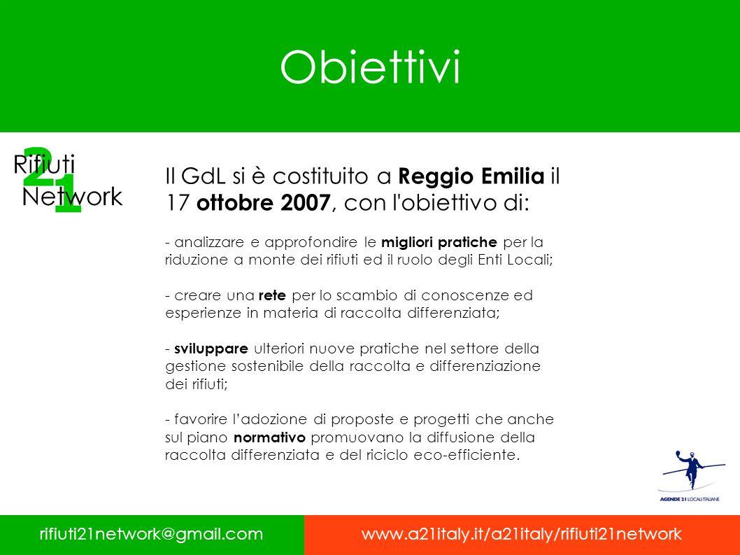 Obiettivi Il GdL si è costituito a Reggio Emilia il 17 ottobre 2007, con l'obiettivo di: - analizzare e approfondire le migliori pratiche per la riduz