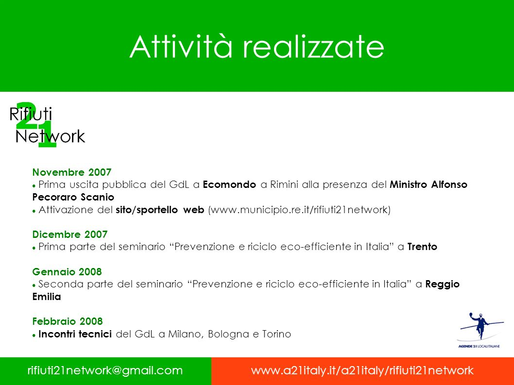 Attività realizzate rifiuti21network@gmail.comwww.a21italy.it/a21italy/rifiuti21network Novembre 2007 Prima uscita pubblica del GdL a Ecomondo a Rimin