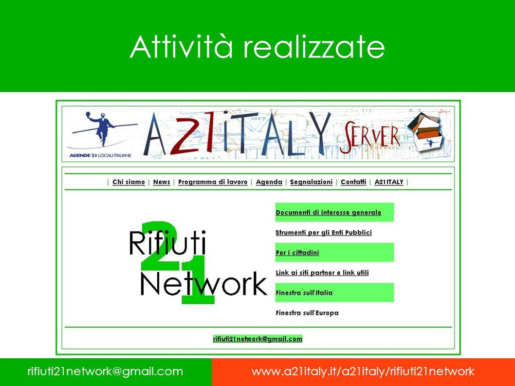 Attività realizzate rifiuti21network@gmail.comwww.a21italy.it/a21italy/rifiuti21network