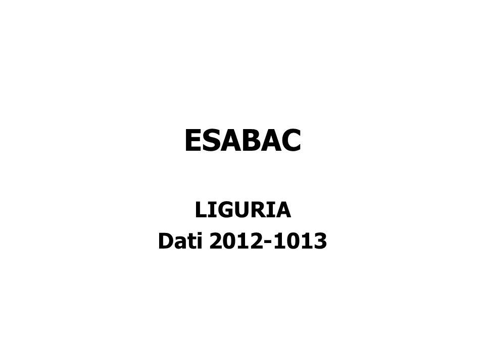 LIGURIA Dati 2012-1013 ESABAC