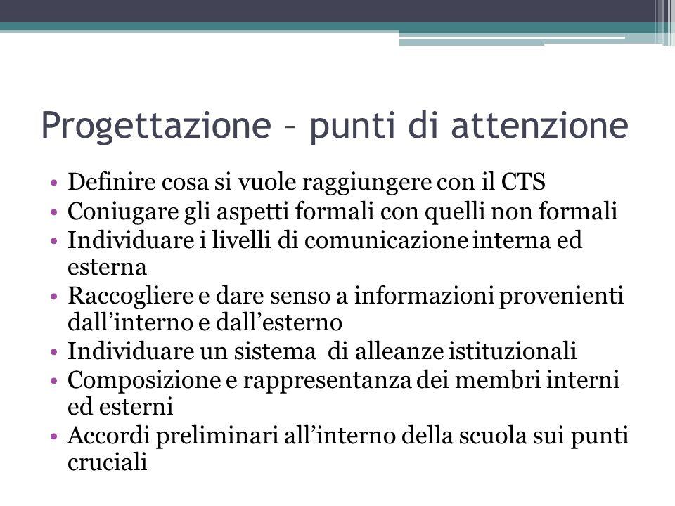 Progettazione – punti di attenzione Definire cosa si vuole raggiungere con il CTS Coniugare gli aspetti formali con quelli non formali Individuare i l