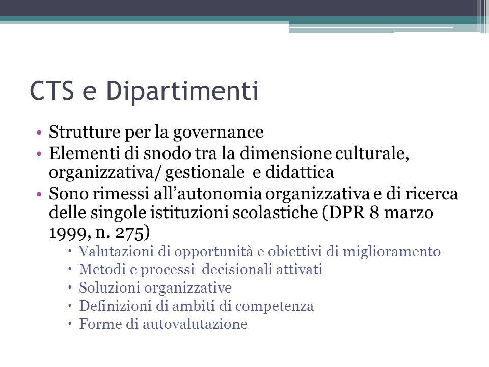 CTS e Dipartimenti Strutture per la governance Elementi di snodo tra la dimensione culturale, organizzativa/ gestionale e didattica Sono rimessi allau