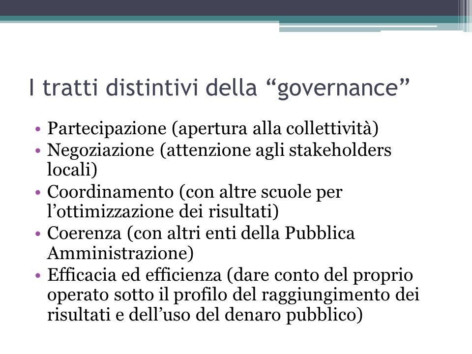 I tratti distintivi della governance Partecipazione (apertura alla collettività) Negoziazione (attenzione agli stakeholders locali) Coordinamento (con