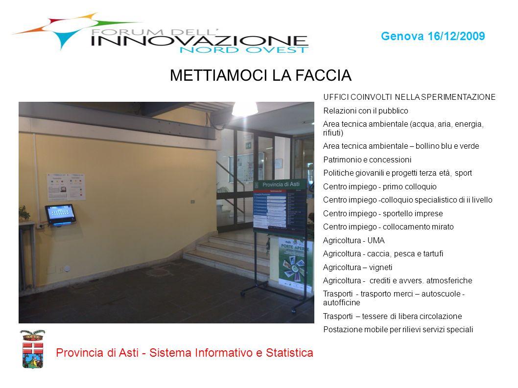 Genova 16/12/2009 Provincia di Asti - Sistema Informativo e Statistica METTIAMOCI LA FACCIA UFFICI COINVOLTI NELLA SPERIMENTAZIONE Relazioni con il pu