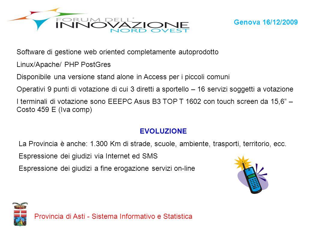 Genova 16/12/2009 Provincia di Asti - Sistema Informativo e Statistica Software di gestione web oriented completamente autoprodotto Linux/Apache/ PHP