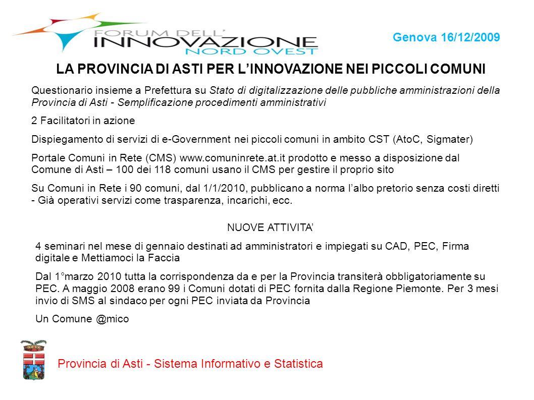 Genova 16/12/2009 Provincia di Asti - Sistema Informativo e Statistica LA PROVINCIA DI ASTI PER LINNOVAZIONE NEI PICCOLI COMUNI Questionario insieme a
