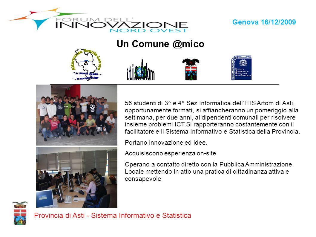 Genova 16/12/2009 Provincia di Asti - Sistema Informativo e Statistica Un Comune @mico 56 studenti di 3^ e 4^ Sez Informatica dellITIS Artom di Asti,