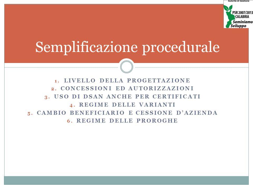 1. LIVELLO DELLA PROGETTAZIONE 2. CONCESSIONI ED AUTORIZZAZIONI 3.