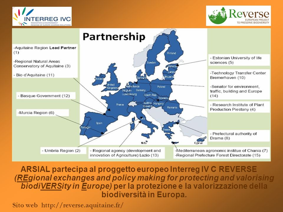ARSIAL partecipa al proggetto europeo Interreg IV C REVERSE (REgional exchanges and policy making for protecting and valorising biodiVERSity in Europe