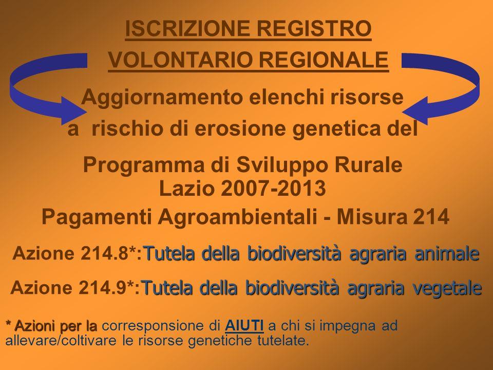 Pagamenti Agroambientali - Misura 214 Tutela della biodiversità agraria animale Azione 214.8*: Tutela della biodiversità agraria animale Tutela della