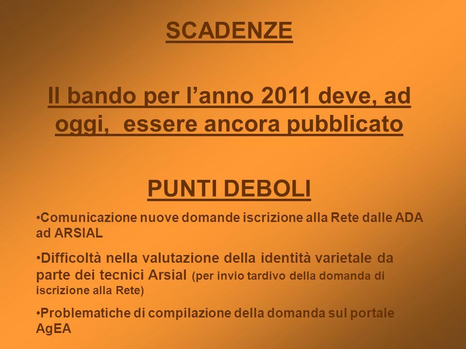 SCADENZE Il bando per lanno 2011 deve, ad oggi, essere ancora pubblicato PUNTI DEBOLI Comunicazione nuove domande iscrizione alla Rete dalle ADA ad AR