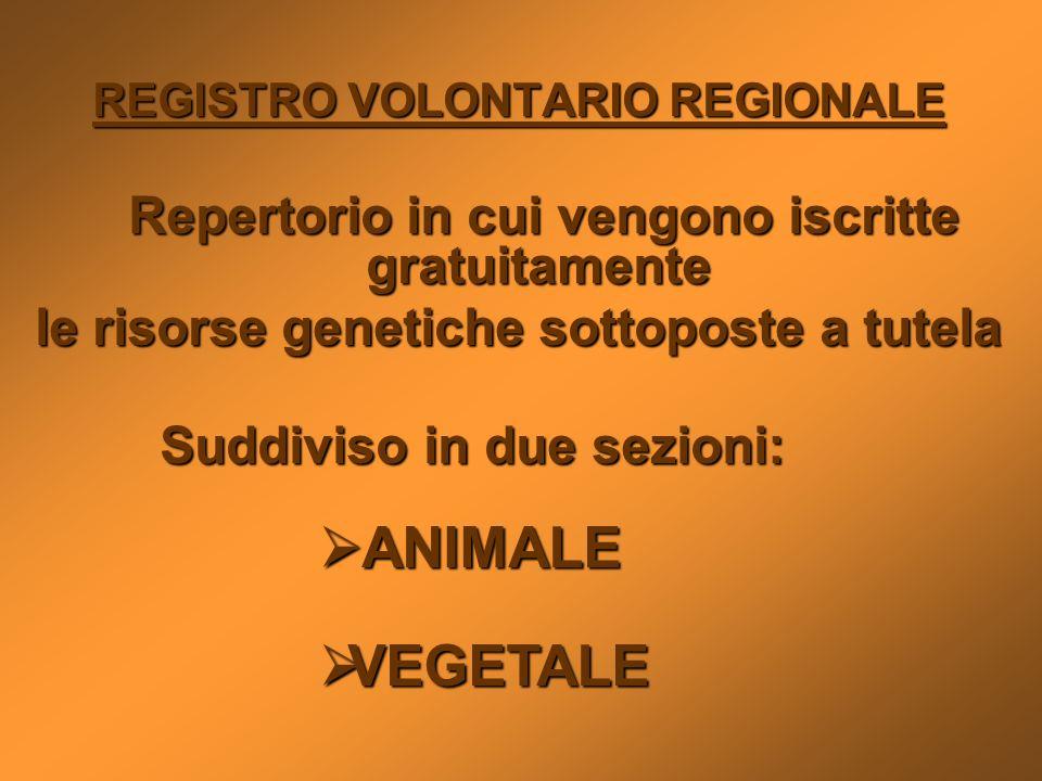 REGISTRO VOLONTARIO REGIONALE Repertorio in cui vengono iscritte gratuitamente Repertorio in cui vengono iscritte gratuitamente le risorse genetiche s