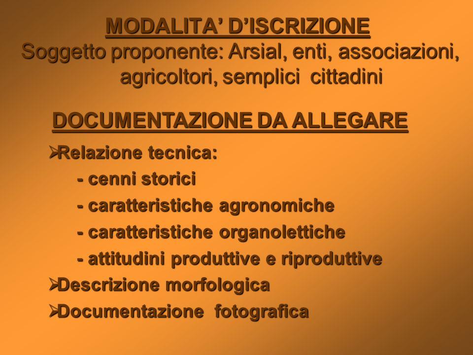 MODALITA DISCRIZIONE Soggetto proponente: Arsial, enti, associazioni, agricoltori, semplici cittadini Soggetto proponente: Arsial, enti, associazioni,