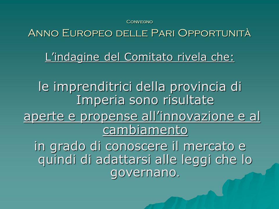Convegno Anno Europeo delle Pari Opportunità Lindagine del Comitato rivela che: le imprenditrici della provincia di Imperia sono risultate aperte e pr