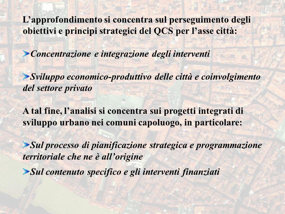 Lapprofondimento si concentra sul perseguimento degli obiettivi e principi strategici del QCS per lasse città: Concentrazione e integrazione degli int