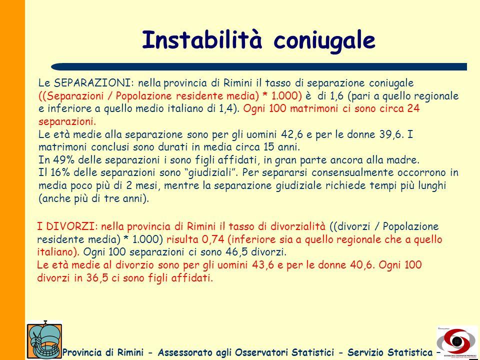 Provincia di Rimini - Assessorato agli Osservatori Statistici - Servizio Statistica – Instabilità coniugale Le SEPARAZIONI: nella provincia di Rimini