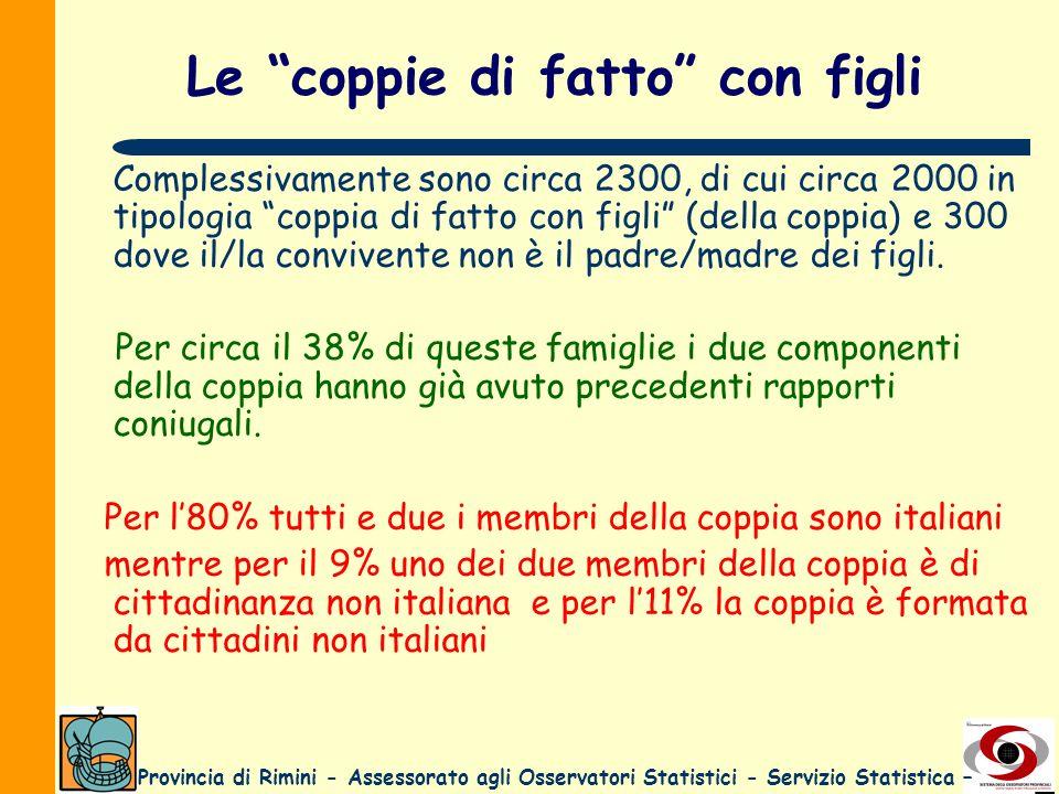 Provincia di Rimini - Assessorato agli Osservatori Statistici - Servizio Statistica – Le coppie di fatto con figli Complessivamente sono circa 2300, d