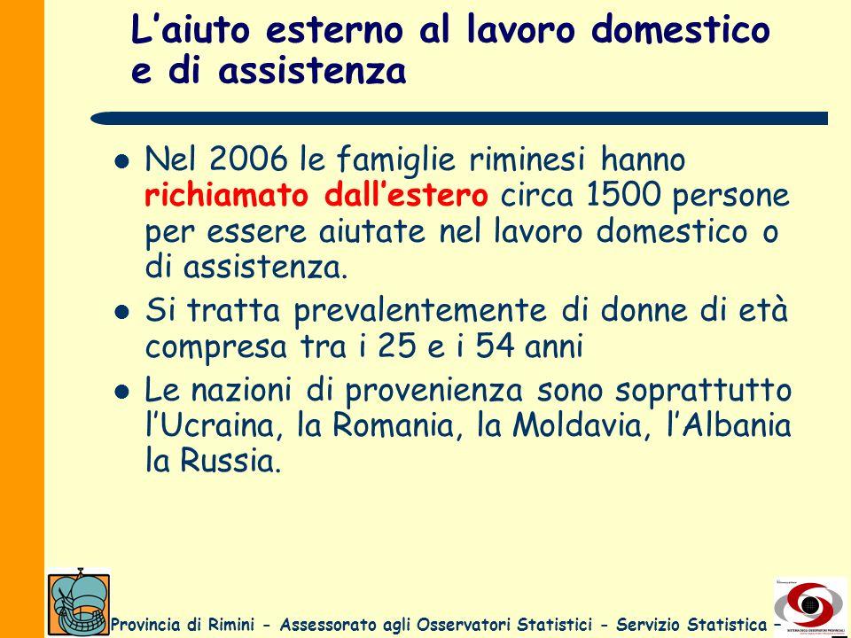 Provincia di Rimini - Assessorato agli Osservatori Statistici - Servizio Statistica – Laiuto esterno al lavoro domestico e di assistenza Nel 2006 le f