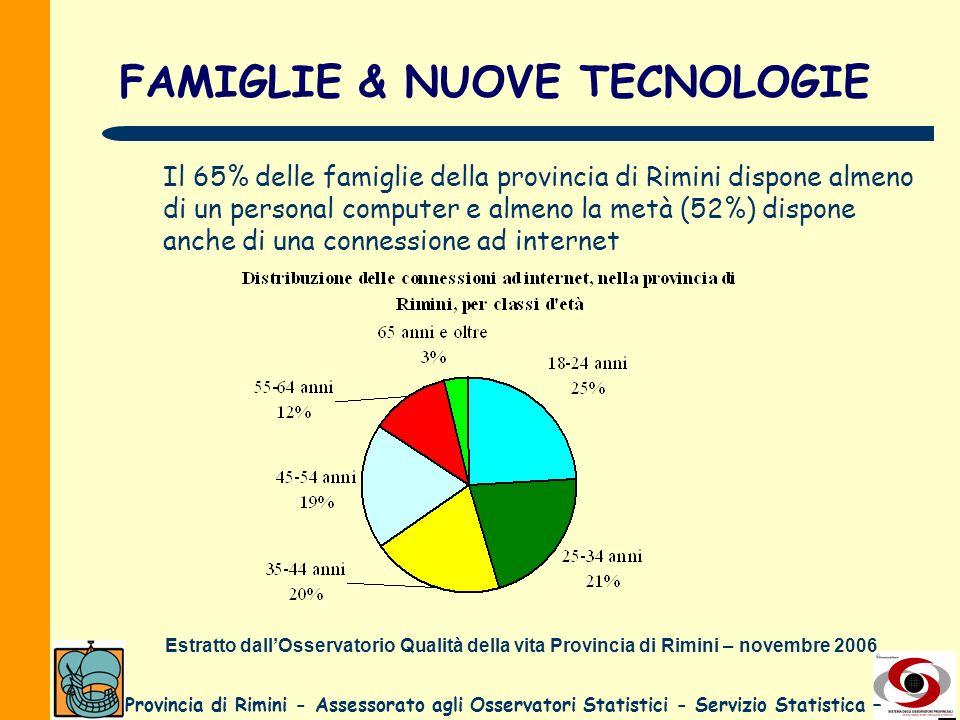 Provincia di Rimini - Assessorato agli Osservatori Statistici - Servizio Statistica – FAMIGLIE & NUOVE TECNOLOGIE Il 65% delle famiglie della provinci