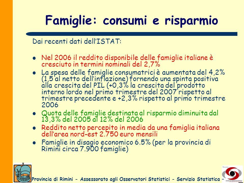 Provincia di Rimini - Assessorato agli Osservatori Statistici - Servizio Statistica – Famiglie: consumi e risparmio Dai recenti dati dellISTAT: Nel 20