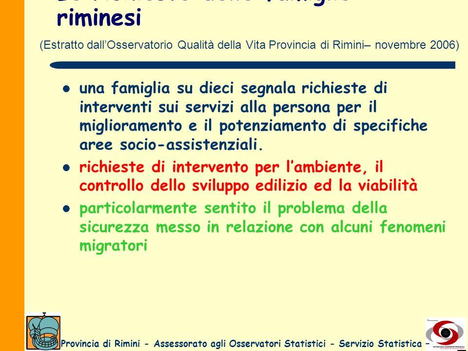 Provincia di Rimini - Assessorato agli Osservatori Statistici - Servizio Statistica – Le richieste delle famiglie riminesi una famiglia su dieci segna