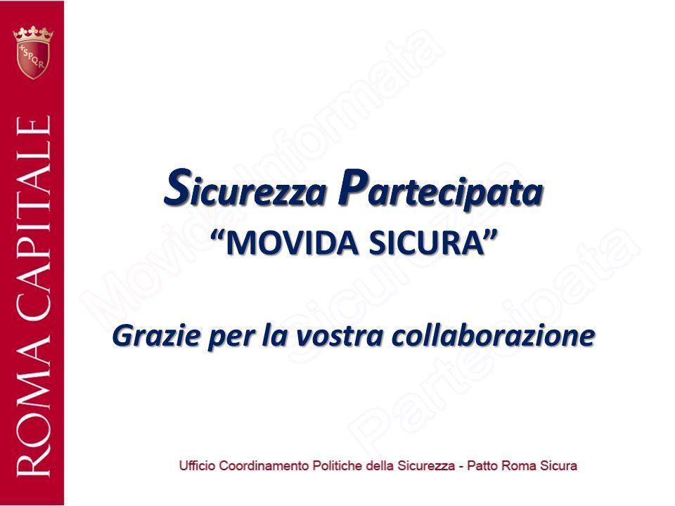 S icurezza P artecipata Grazie per la vostra collaborazione S icurezza P artecipata MOVIDA SICURA