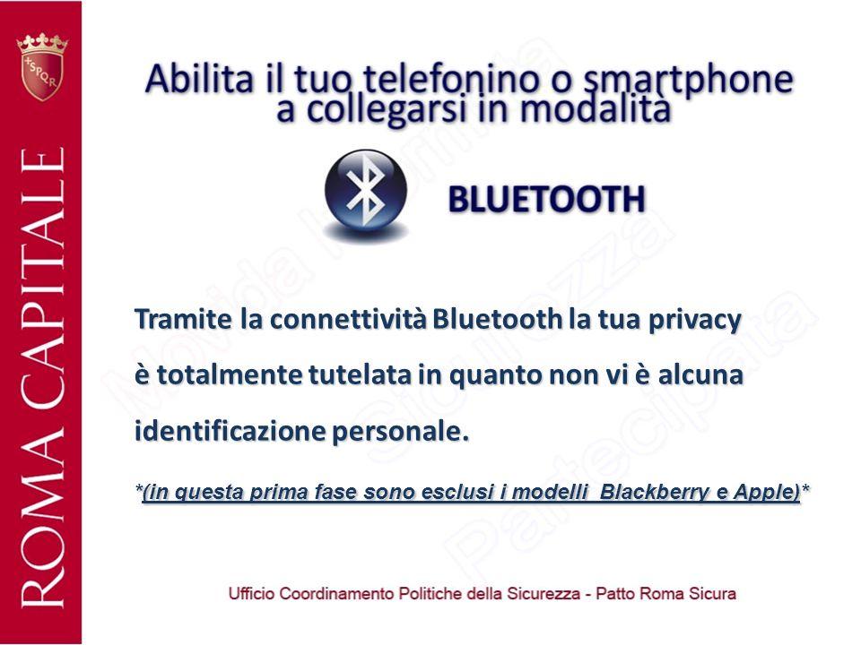 Tramite la connettività Bluetooth la tua privacy è totalmente tutelata in quanto non vi è alcuna identificazione personale.