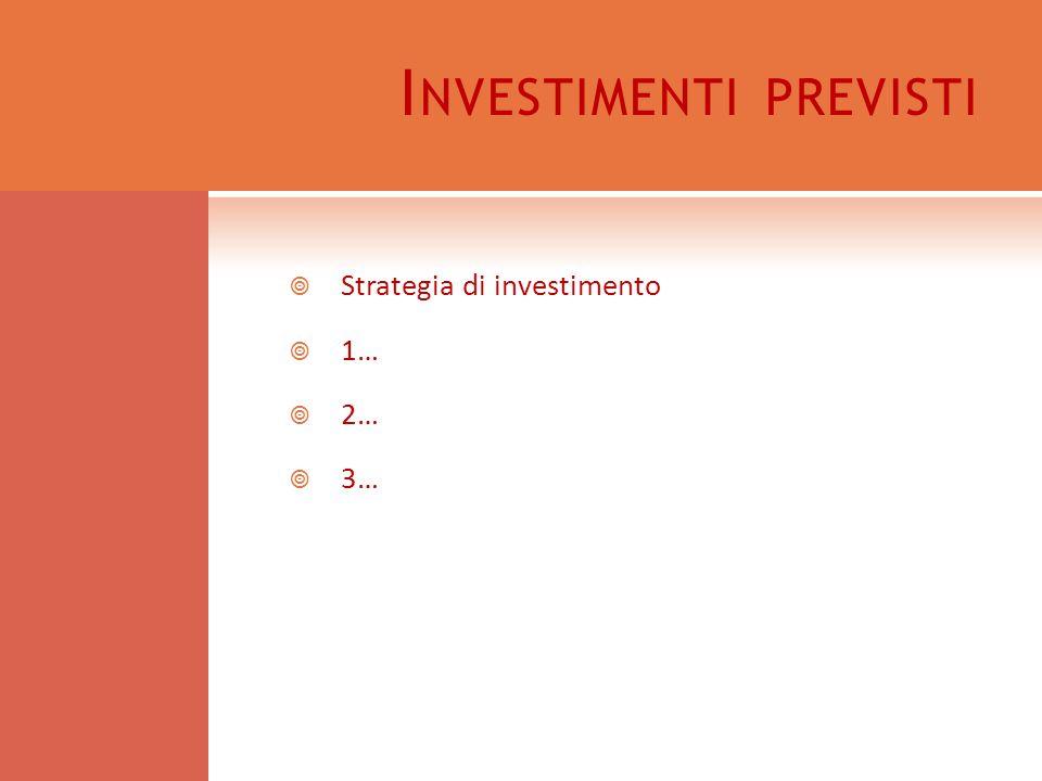 I NVESTIMENTI PREVISTI Strategia di investimento 1… 2… 3…