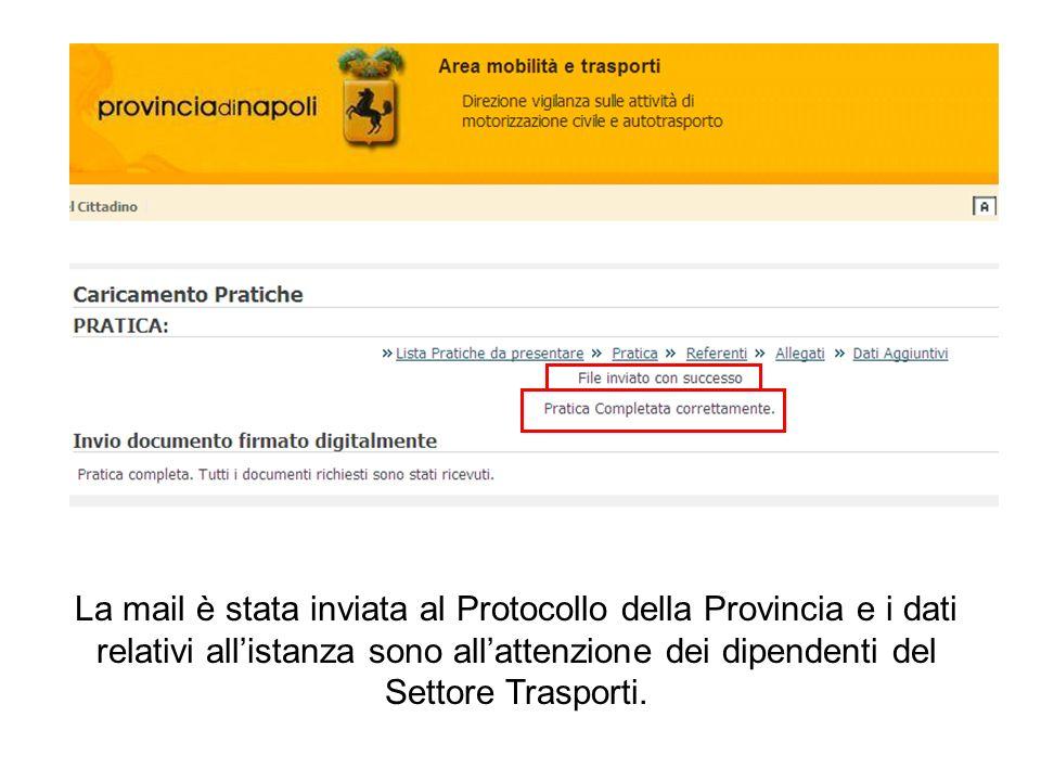 La mail è stata inviata al Protocollo della Provincia e i dati relativi allistanza sono allattenzione dei dipendenti del Settore Trasporti.