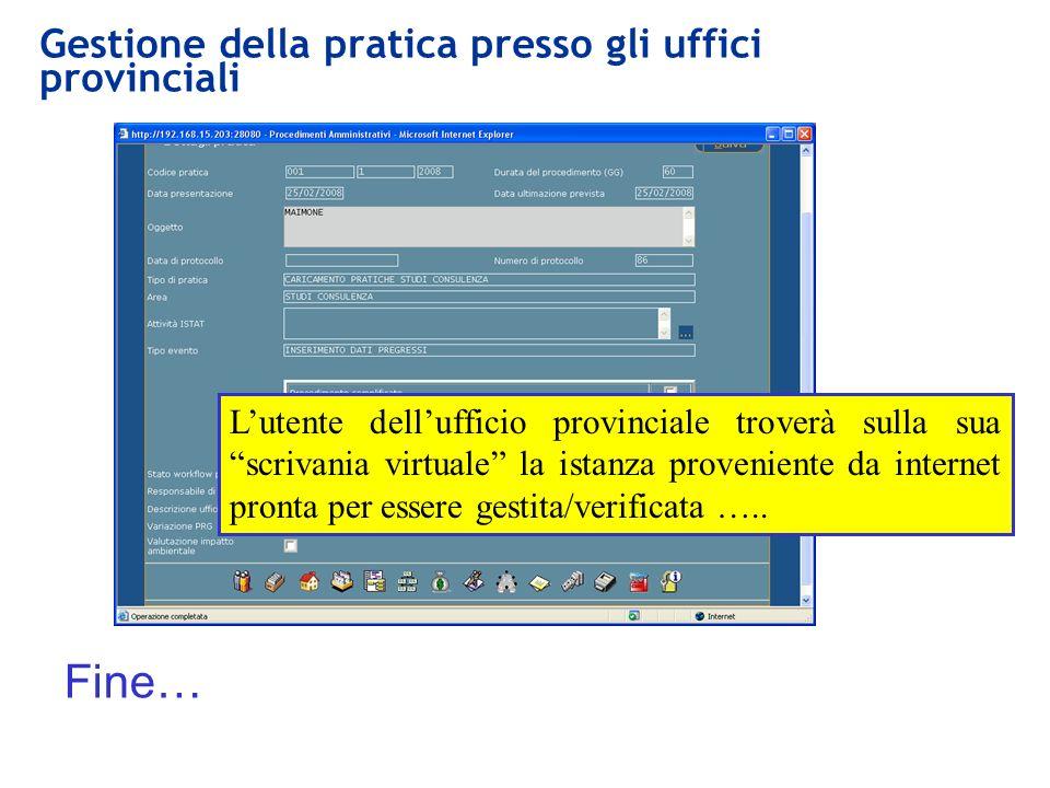 Gestione della pratica presso gli uffici provinciali Fine… Lutente dellufficio provinciale troverà sulla sua scrivania virtuale la istanza proveniente