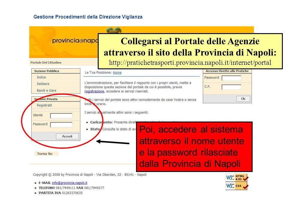 Gestione Procedimenti della Direzione Vigilanza Poi, accedere al sistema attraverso il nome utente e la password rilasciate dalla Provincia di Napoli